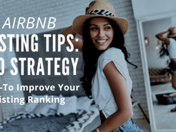image of attractive airbnb host smiling at seo tips that increase her listing visibility and rankings.